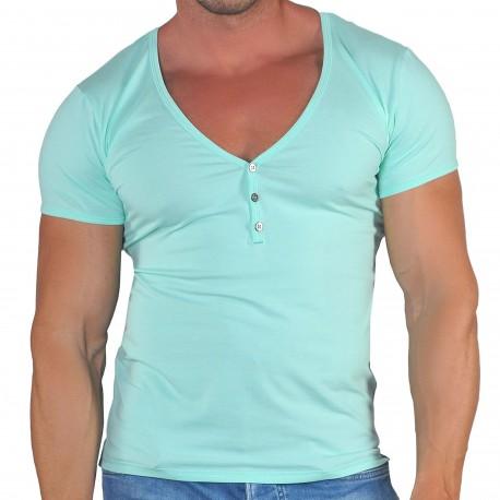 Roberto Lucca T-Shirt Col Tunisien Profond Coton Modal Vert Menthe