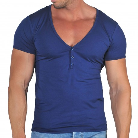 Roberto Lucca T-Shirt Col Tunisien Profond Coton Modal Bleu Marine