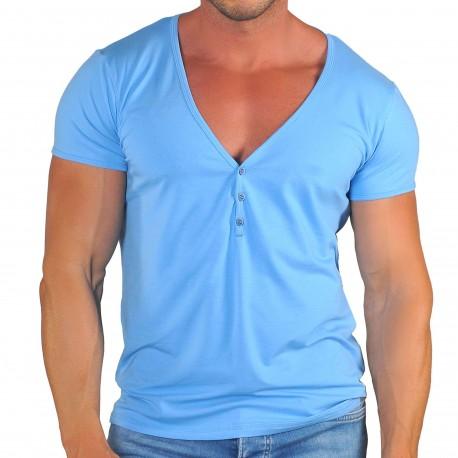 Roberto Lucca T-Shirt Col Tunisien Profond Coton Modal Bleu Ciel