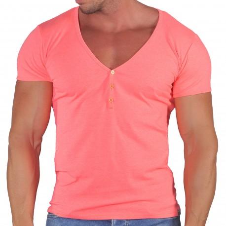 Roberto Lucca T-Shirt Col Tunisien Profond Microfibre Rose Fluo