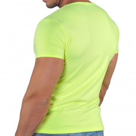 Roberto Lucca T-Shirt Col Tunisien Profond Microfibre Jaune Fluo