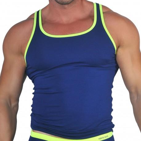 Roberto Lucca Débardeur Coton Modal Bleu Marine - Jaune Fluo