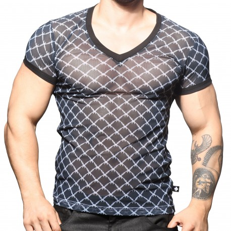 Andrew Christian Barbed Wire Sheer V-Neck T-Shirt
