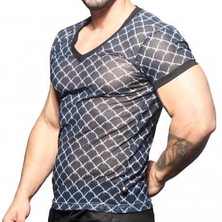 Andrew Christian T-Shirt Col V Barbelé