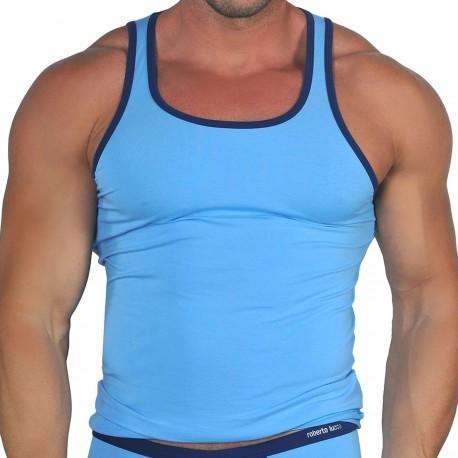 Roberto Lucca Débardeur Coton Modal Bleu Ciel - Marine