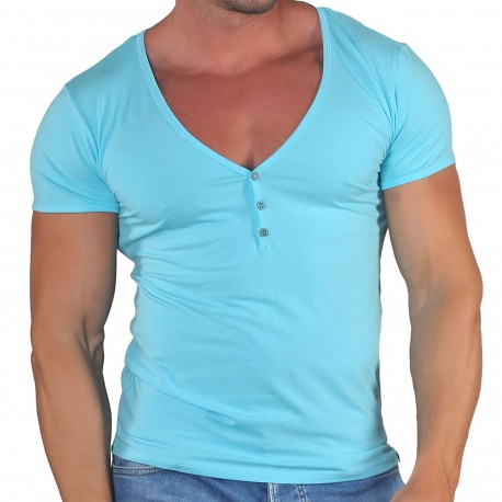 Roberto Lucca T-Shirt Col Tunisien Profond Coton Modal Bleu Turquoise