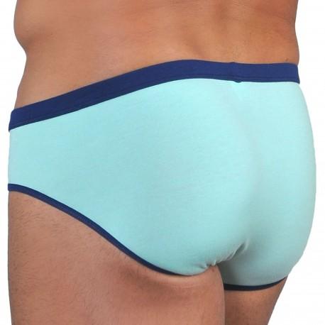 Roberto Lucca Slip Coton Modal Vert Menthe - Marine