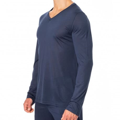 HOM T-Shirt Manches Longues Cocooning Bleu Marine