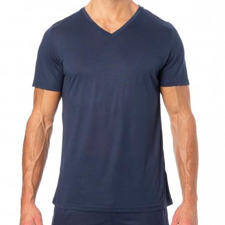 HOM T-Shirt Manches Courtes Cocooning Bleu Marine