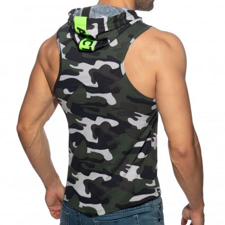 Addicted Débardeur à Capuche Bande Logo Camouflage