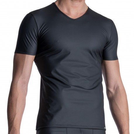 Manstore M2111 V-Neck T-Shirt - Black
