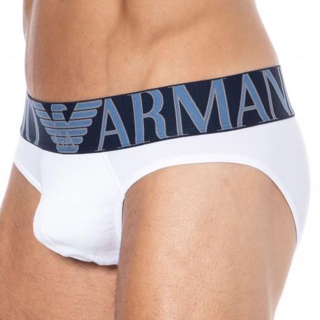 Emporio Armani Megalogo Cotton Briefs - White