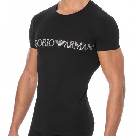 Emporio Armani Megalogo Cotton T-Shirt - Black