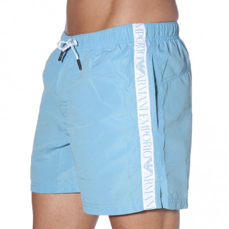 Short de Bain Basic Logo Tape Azur
