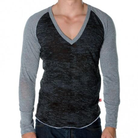 T-Shirt Skinny Core Baseball Gris