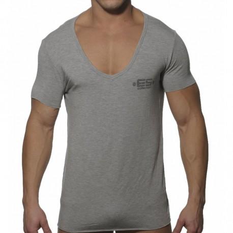 T-Shirt Deep Round Modal Gris