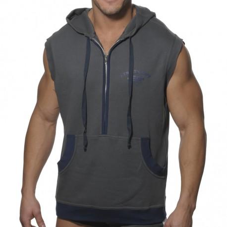 Hoody Cotton Tank Top - Grey