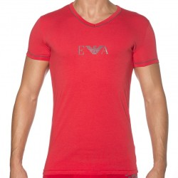 T-Shirt Manches Courtes Stretch Cotton Rouge Emporio Armani