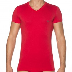 T-Shirt Eagle Stretch Cotton Rouge Emporio Armani