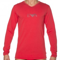 T-Shirt Manches Longues Stretch Cotton Rouge Emporio Armani