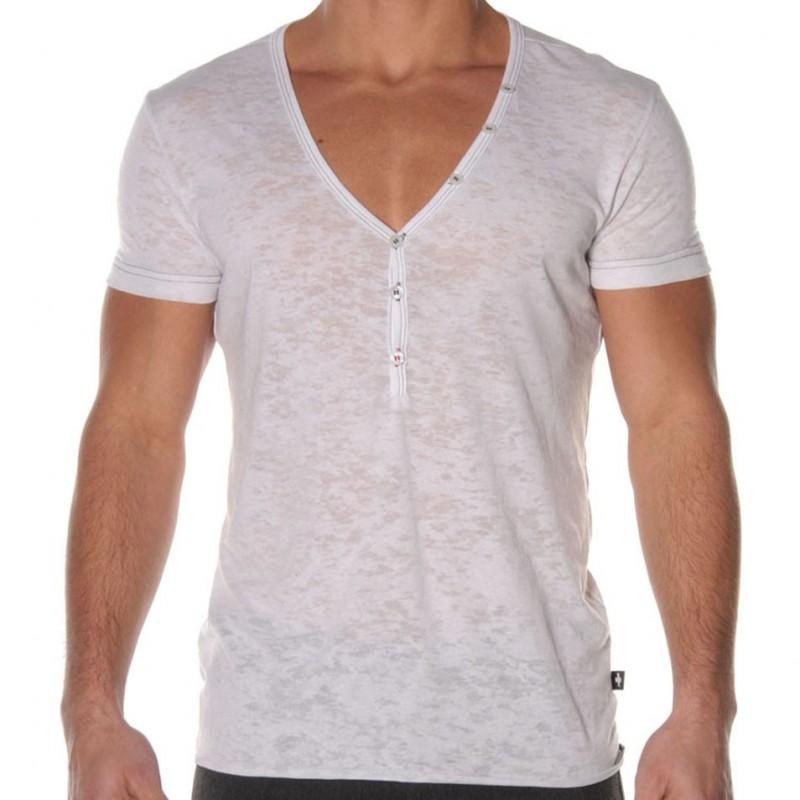 Andrew Christian T Shirt Skinny Core Deep V Neck Henley