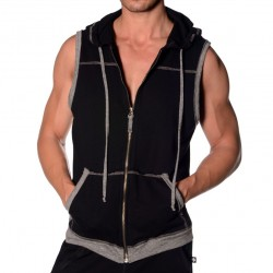 Débardeur Hoodie Sleeveless Richmond Noir Andrew Christian