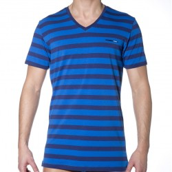 T-Shirt Fresh & Bright Rayé Marine - Rouge Diesel