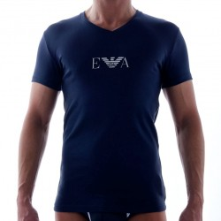 T-Shirt Pima Rib Stretch Cotton Marine Emporio Armani