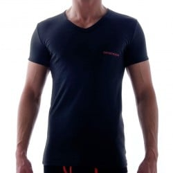 T-Shirt Contrast Colour Stretch Cotton Noir Emporio Armani