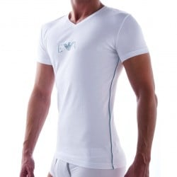 T-Shirt Pima Rib Stretch Cotton Blanc Emporio Armani
