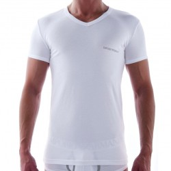 T-Shirt Contrast Colour Stretch Cotton Blanc Emporio Armani