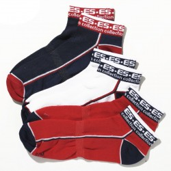 Lot de 3 Paires de Socquettes Sport Marines - Rouges - Blanches ES Collection