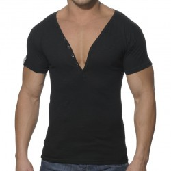 T-Shirt Button Down Slim Fit Noir ES Collection