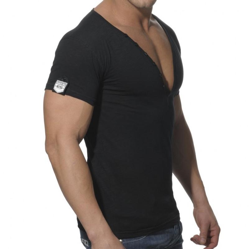 Es Collection Button Down Slim Fit T Shirt Black