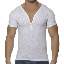 T-Shirt Button Down Slim Fit Blanc ES Collection