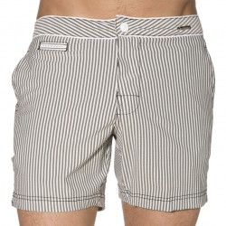 Short de Bain Luxe Seared Stripe Noir Calvin Klein
