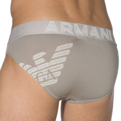 Slip Big Eagle Printed Stretch Cotton Gris Emporio Armani