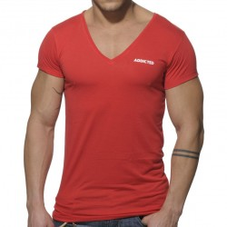 T-Shirt Basic V-Neck Rouge Addicted