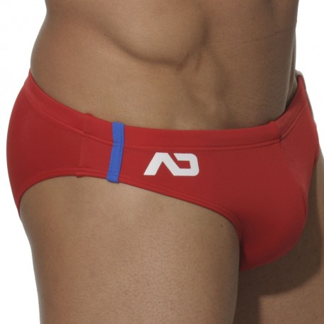Sports Swim Brief - Red - White