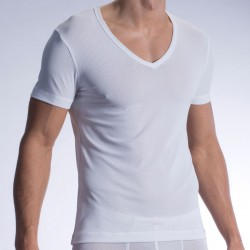 T-Shirt V-Neck RED 1313 Blanc Olaf Benz