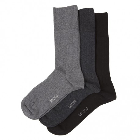 3-Pack - Cotton Socks - Black / Heather / Charcoal