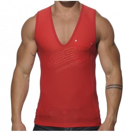 Combi V-Neck Tank Top - Red