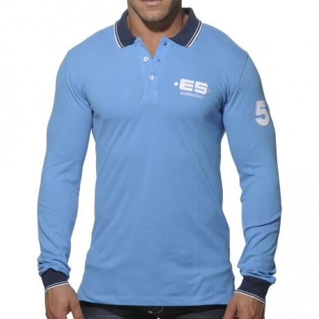 Slim Fit Long Sleeves Polo Shirt - Blue