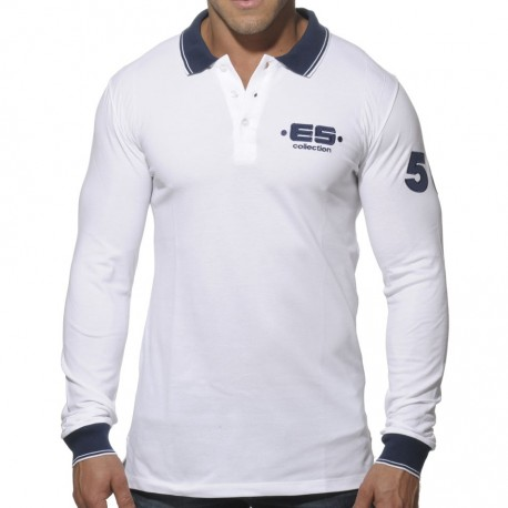 Slim Fit Long Sleeves Polo Shirt - White