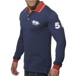 T-Shirt Polo Slim Fit Manches Longues Marine ES Collection