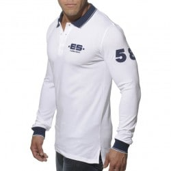 T-Shirt Polo Slim Fit Manches Longues Blanc ES Collection