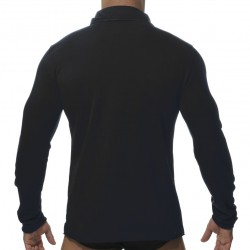 Polo Washed Manches Longues Noir ES Collection