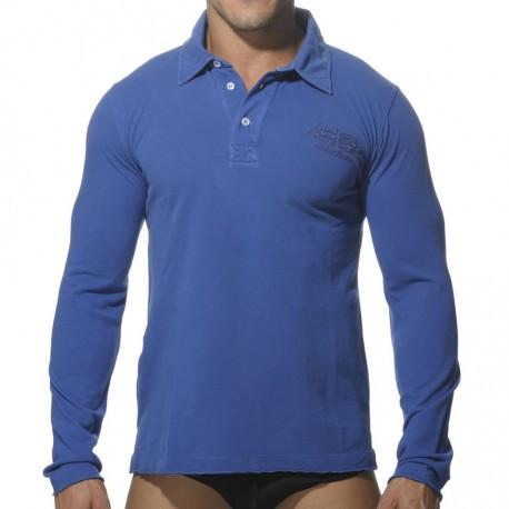 Washed Long Sleeves Polo Shirt - Royal