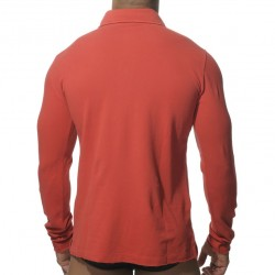 Polo Washed Manches Longues Rouge ES Collection