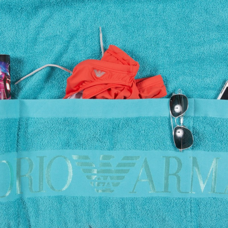 serviettes plage drap de bain pocket turquoise emporio armani